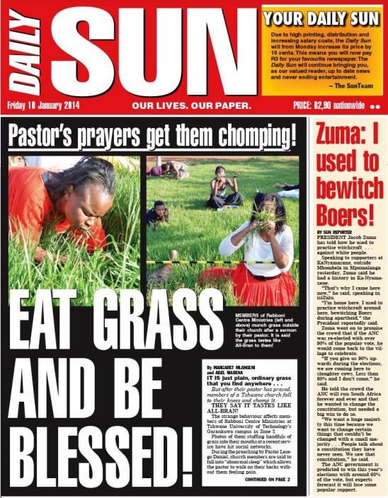 Periodico publicó la noticia cuando el pastor Daniel hizo comer pasto a los hermanos
