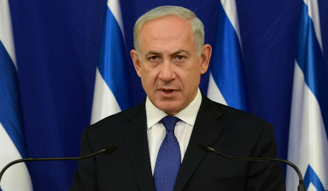 TEL AVIV, ISRAEL - SEPTEMBER 24: (ISRAEL OUT) In this handout image provided by the Israeli Government Press Office (GPO), Prime Minister Benjamin Netanyahu delivers a press statement at his office, following U.S. President Barack Obama's speech at the United Nations, on September 24, 2013 in Tel Aviv, Israel. Netanyahu will address the UN general assembly on October 1. (Photo by Kobi Gideon/GPO via Getty Images)
